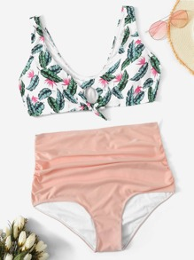 Plus Tropical Top With Ruched High Waist Bikini