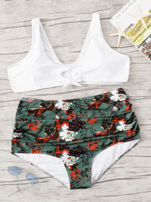Plus Floral Ruched Mix & Match Bikini