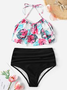 Random Tropical Tiered Layer Top With Ruched Bikini