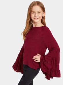 Girls Layered Flounce Ruffle Sleeve Top