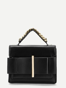 Metal Detail Chain Satchel Bag