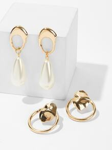 Abstract Metal Hoop & Drop Earrings 2pairs
