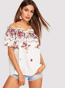 Floral Embroidered Tied Frill Bardot Top