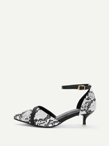 Point Toe Snakeskin Pattern Heels