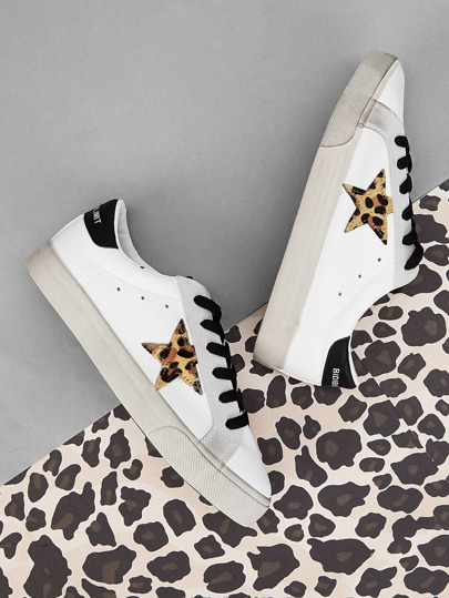 best website 3be4e d3117 Leopard Star Patch Decor Sneakers