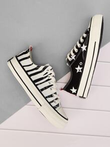 Asymmetrical Pattern Canvas Sneakers