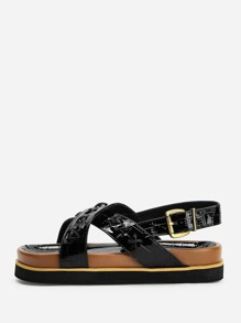 Criss Cross Decor Chunky Sandals