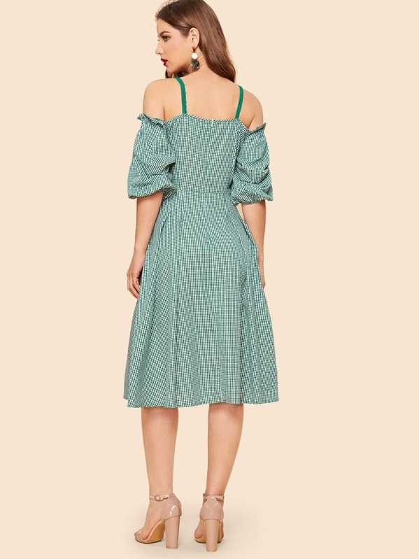 4188313604b760 Cheap 70s Cold Shoulder Gathered Sleeve Gingham Flare Dress for sale  Australia