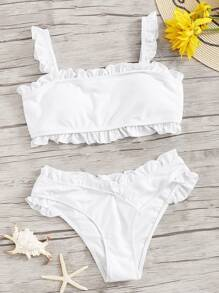 Ruffle Trim Solid Top With Asymmetrical Bikini Set