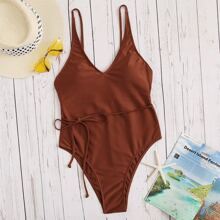 Criss-Cross Knotted Detail One Piece Swimsuit