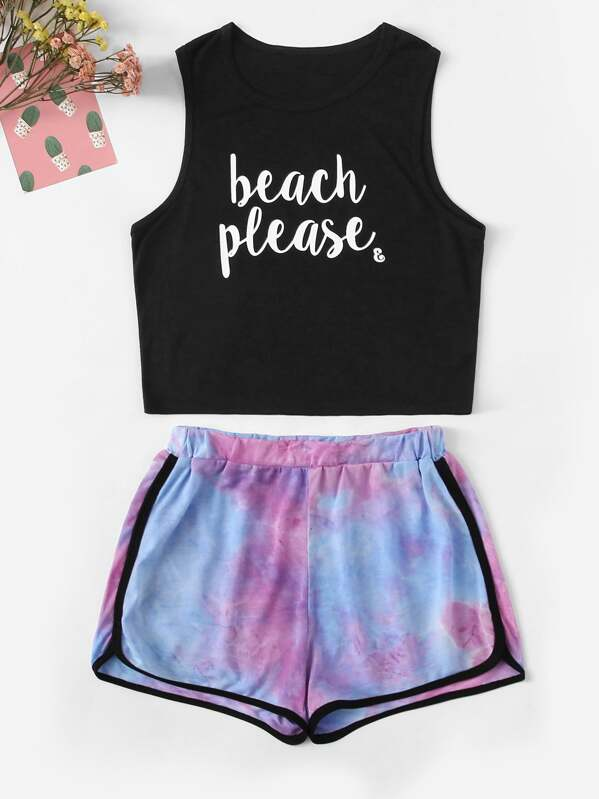e5c824c9d6aba Girls Letter Tank Top and Tie Dye Shorts Set
