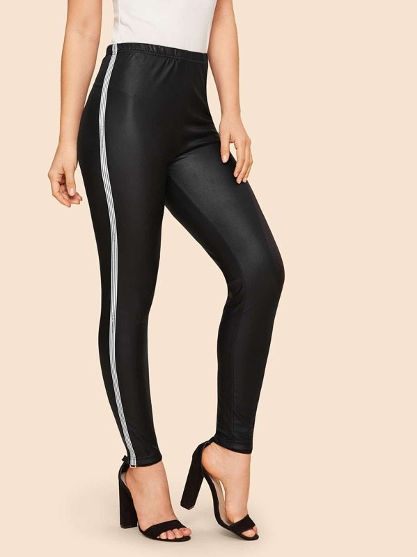 1ce78557fc 90s Striped Tape Side Leather Look Trousers   SHEIN UK