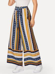 Self Belted Geo Print Palazzo Pants