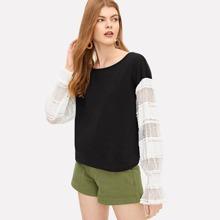 Contrast Lace Sleeve Two-tone Sweatshirt