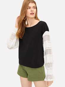 Contrast Lace Sleeve Two-tone Sweatshirt