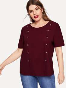 Plus Pearl Beading Puff Sleeve Pullover Top
