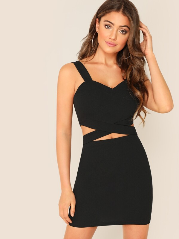 ab0577606e Criss-cross Slim Fitted Crop Tank Top & Skirt Set   SHEIN IN