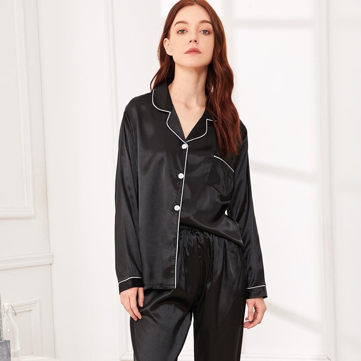 Атласная пижама комплект с контрастной кулиской