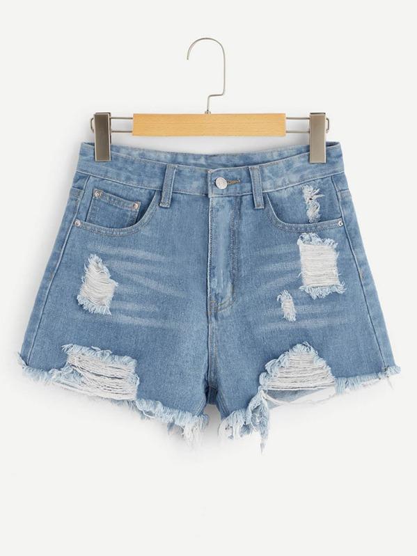 fecbea30b1b2 Ripped Raw Hem Denim Shorts   SHEIN UK
