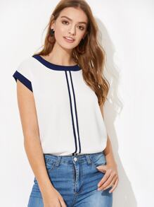 Contrast Trim Curved Hem Blouse