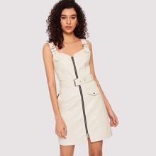 Zip Up Belted PU Dress
