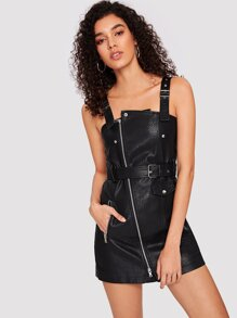 Faux Leather Belted Overall Dress