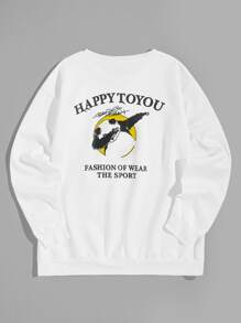 Men Letter And Panda Print Sweatshirt
