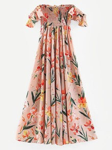 Off-shoulder Shirred Floral Print Dress