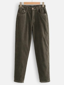 Pocket Detail Corduroy Pants