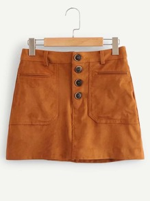 Button Up Solid Suede Skirt