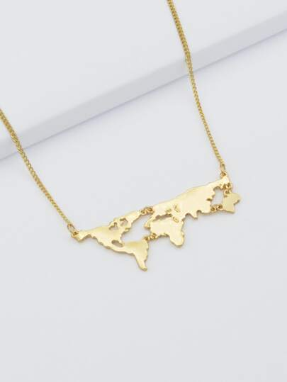 Gold Map Shape Pendant Necklace