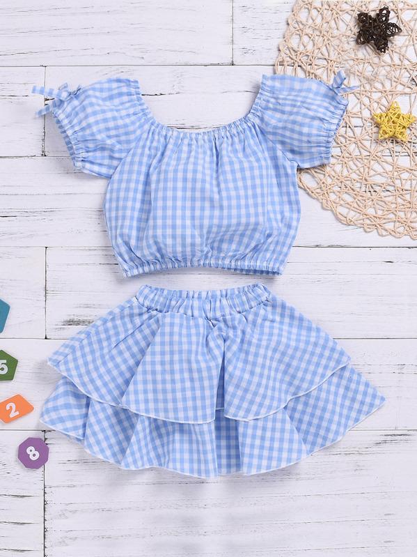 78b45c434 Toddler Girls Gingham Bow Blouse With Ruffle Hem Skirt   SHEIN IN