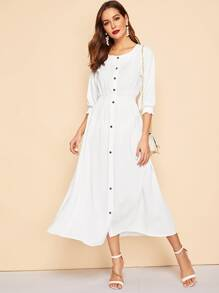 Elastic Waist Button Front Shirt Dress