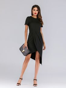 Ruched Waist Tulip Hem Dress