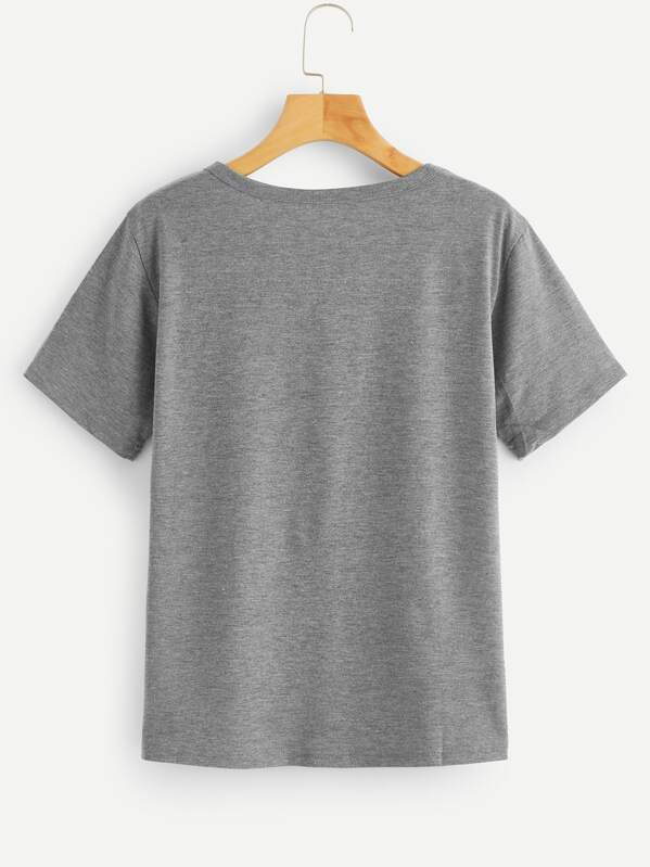 fa380ebf4f Slogan Print Cuffed T-shirt | SHEIN