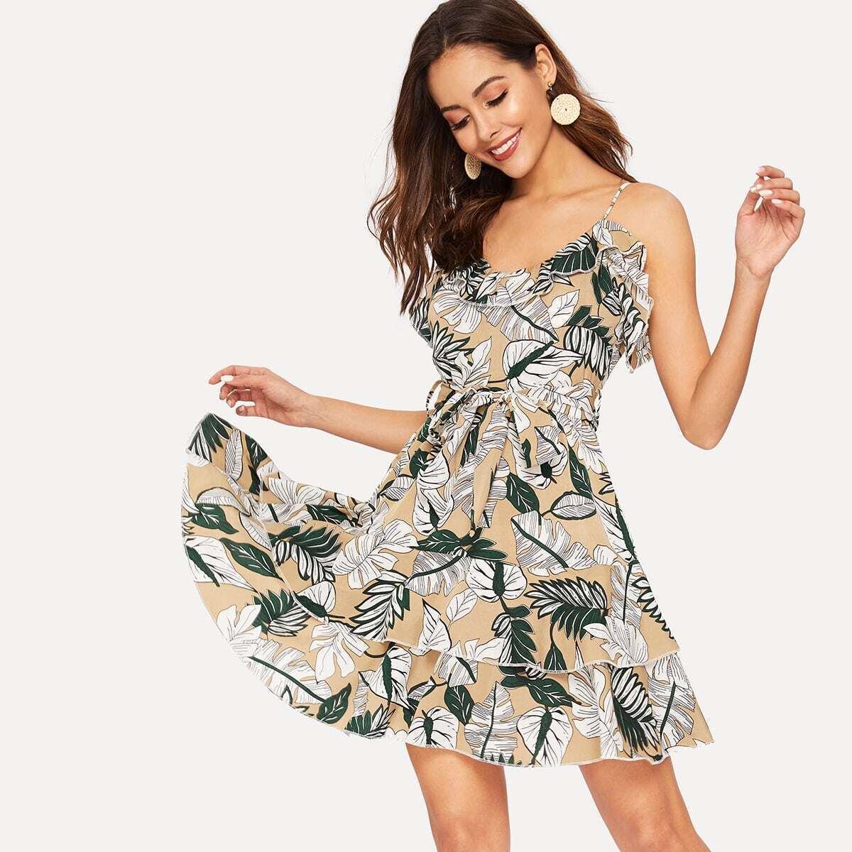 Leaf Print Ruffle Hem Belted Dress