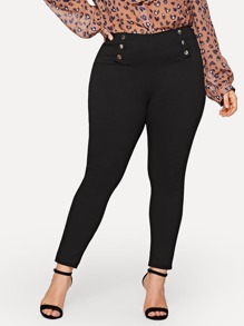 Plus Button Detail Skinny Jeans