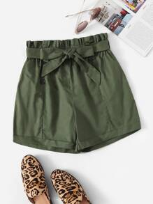 Double Breasted Belted Paperbag Shorts