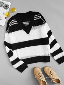Plus Ripped Striped V-neck Sweater