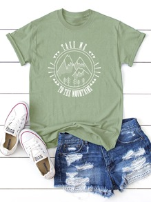 Letter And Mountain Print Tee