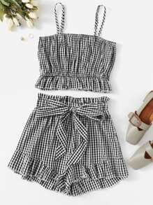 Gingham Ruffle Hem Cami Top With Shorts