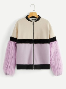 Zip Up Faux Fur Sleeve Color Block Coat