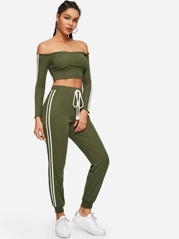 9e749e190f08 Off Shoulder Lettuce Trim Crop Top & Pants Tracksuit | SHEIN