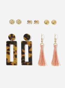 Tortoiseshell & Tassel Drop Earrings 5pairs