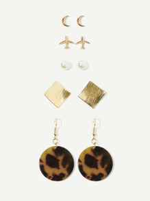 Moon & Aircraft Shaped Earrings 5pairs
