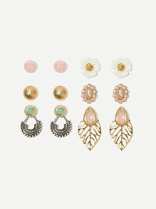 Flower & Leaf Design Stud Earrings 6pairs