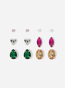 Heart & Gemstone Stud Earrings 6pairs