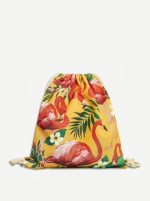 Flamingo And Plant Print Drawstring Backpack
