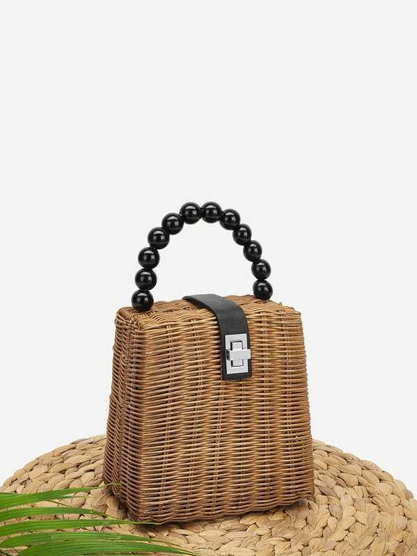 f64bd3101ef Twist Lock Box Bag With Ball Handle | SHEIN