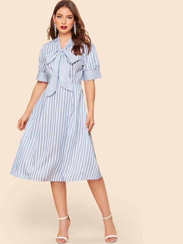 40s Tie Neck Fit & Flare Striped Dress by Shein